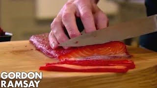 getlinkyoutube.com-Beetroot Cured Salmon | Gordon Ramsay