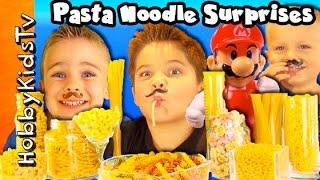 getlinkyoutube.com-MEGA Noodles SURPRISES! Super Mario Spaghetti Pasta Face HobbyKidsTV