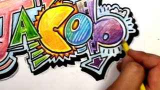 getlinkyoutube.com-How to Draw Graffiti Letters - Write Jacob in Cool Letters