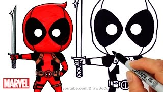 getlinkyoutube.com-How to Draw + Color Deadpool Chibi step by step Marvel Superhero