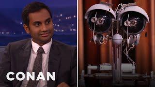 "getlinkyoutube.com-Aziz Ansari Settles His ""Short Circuit"" Beef With Johnny Five  - CONAN on TBS"