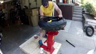 getlinkyoutube.com-Motorcycle tire change with ebay tire changer
