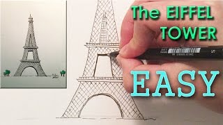 getlinkyoutube.com-How to draw the Eiffel Tower - Paris World Monuments