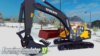 getlinkyoutube.com-Farming Simulator 17: Volvo EC300E Excavator Digging Snow!
