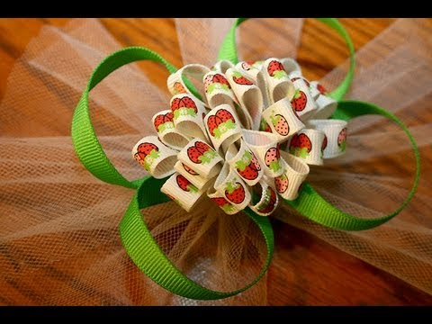 Funky Ribbon Pom Pom Hairbow Tutorial loops And Puffs Oh My
