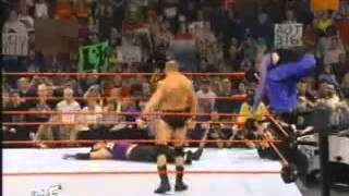 getlinkyoutube.com-Brock Lesnar destroys the Hardy Boyz RAW 04/01/02