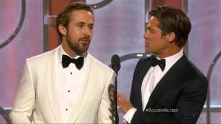 flushyoutube.com-Ryan Gosling and Brad Pitt present at the 2016 Golden Globes
