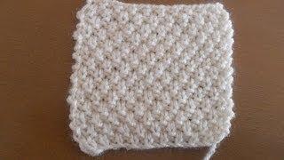 getlinkyoutube.com-Aprende a tejer punto de arroz doble en dos agujas