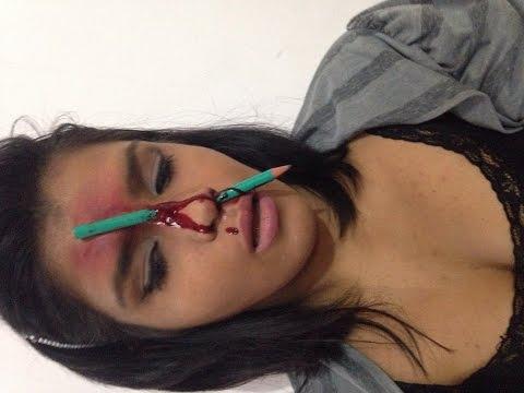 Lápis no nariz .. Maquiagem efeitos especiais