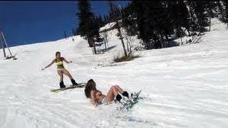 Topless Snowboarding in Iowa