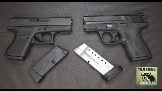 getlinkyoutube.com-Glock 43 vs S&W Shield 9mm Pistols