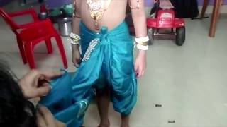 getlinkyoutube.com-How to wear dhotie for Krishna Make Up , please subscribe this video