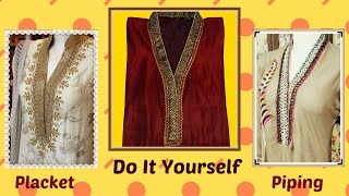 getlinkyoutube.com-How To Cut And Stitch Full Collar Placket With Piping And Lace