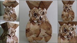getlinkyoutube.com-Como fazer vaso com papelão e filtros de café!