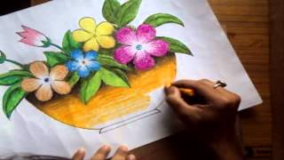 getlinkyoutube.com-How to Draw a Flower Vase with Oil Pastel [Long Version]