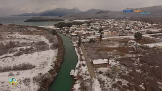 Snowy Acheron estuary - Ammoudia and Mesopotamos Village drone flight