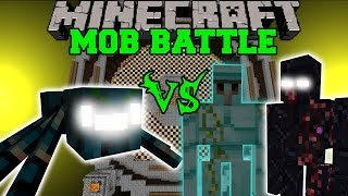 getlinkyoutube.com-MUTANT MIST SPIDER VS DIAMOND GOLEM, MUTANT OBSIDIAN GOLEM, & GENERAL - Minecraft Mob Battles - Mods