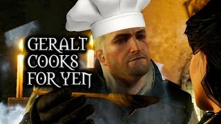getlinkyoutube.com-The Witcher 3: Wild Hunt - Geralt cooks for Yennefer (Deleted Kaer Morhen scene)