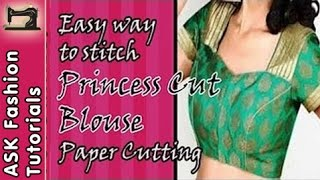 getlinkyoutube.com-How to Stitch Princess Cut Blouse - Part 1 - Paper Cutting - In Hindi
