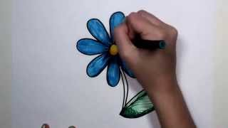 getlinkyoutube.com-How to Draw Flower Step by Step - Blue Daisy Drawing Lesson MLT