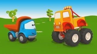 getlinkyoutube.com-Cartoni animati per bambini -  Camion Leo Junior e il Monster Truck