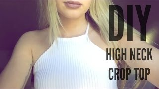 getlinkyoutube.com-DIY | Ribbed High Neck Crop Top (Under $3!)