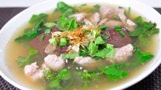 getlinkyoutube.com-[Thai Food] Pork Blood Jelly (Tom Luad Mu)