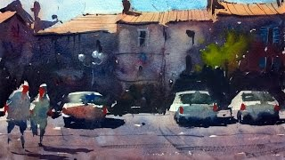 getlinkyoutube.com-Watercolour demonstration by Tim Wilmot - How to paint a French Town Scene with Cars #4