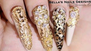 getlinkyoutube.com-Unas stilettos / Gold leopard nails