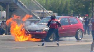 getlinkyoutube.com-FAILED RACE Civic On Fire vs Civic Blows Motor