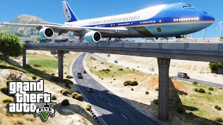 getlinkyoutube.com-GTA 5 Air Force One Plane - Emergency Crash Landing On Bridge (Air Force 1 Mod)