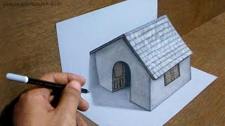 getlinkyoutube.com-Trick Art Drawing 3D Tiny House on paper
