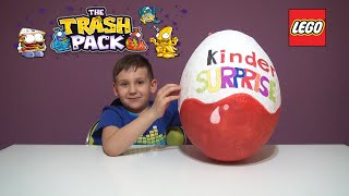 getlinkyoutube.com-Gigant Kinder Surprise , Lego , Trash Pack , Gigantyczna Kinder Niespodzianka Lego , Kиндер Cюрприз