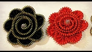 getlinkyoutube.com-Tutorial: Zipper brooch. Broche de cremallera.