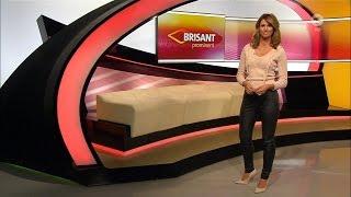 getlinkyoutube.com-Mareile Höppner - Brisant HD - 13.01.2017 - Beige Blouse, Tight Black Leather Pants & Heels