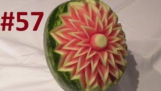 getlinkyoutube.com-#57 Simple flower on watermelon / Prosty kwiat rzeźbiony w arbuzie