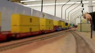 """getlinkyoutube.com-Longest Double Stack Train in HO scale """"BNSF Gevo"""" Part 2"""