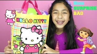 getlinkyoutube.com-Huge Hello Kitty Surprise Bag|Dora the Explorer Activity Kit| Surprise Egg|B2cutecupcakes