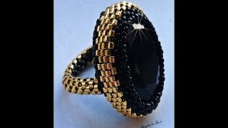 getlinkyoutube.com-Tutorial: DIY come creare una base per anelli rigida a peyote utilizzando delica11 e rocailles 15