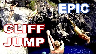 World's Top massive CLIFF jump ever: 10 people from 20 meter width=