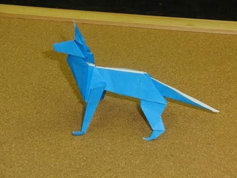 Daily Origami:  124 - Old School Origami - Shepherd Dog