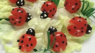 getlinkyoutube.com-Beautiful ladybug   How to Make Tomato Decoration   By Just For Fun In Fruit And Vegetable Carving
