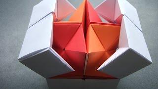 getlinkyoutube.com-origami - action origami - double star flexicube (David Brill) - tutorial - dutchpapergirl