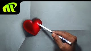 getlinkyoutube.com-Valentine Day - 3D Heart Drawing - Valentine Day Gift | 3D Drawing | Trick Art