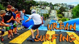 getlinkyoutube.com-Urban Surfing down streets of San Francisco! - Bear Naked!