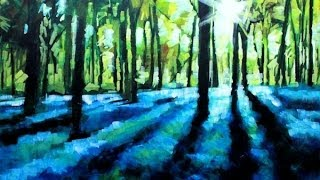 getlinkyoutube.com-How to Paint with Acrylics on Canvas: Abstract Landscape Bluebell Forest Painting