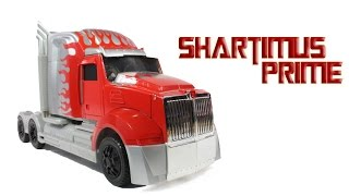 getlinkyoutube.com-Transformers 4 Silver Knight Optimus Prime Target Exclusive Toy Leader Class Age of Extinction Movie