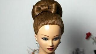 getlinkyoutube.com-Bun with hair bow for long hair. Updo hairstyle