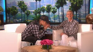 "getlinkyoutube.com-Beginning & end of ""The Biebs on His Bum"" with Justin Bieber dancing to What Do You Mean on Ellen"