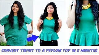 Convert An Old Tshirt Into A Cute Peplum Top in 5 Minutes